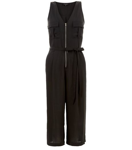 Black Zip Front Sleeveless Culotte Jumpsuit  | New Look