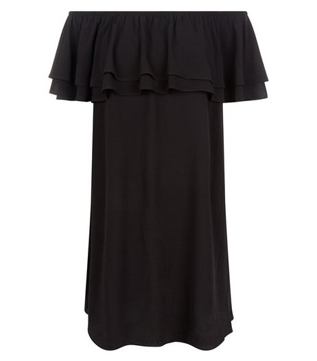 Black Frill Trim Bardot Neck Dress  | New Look