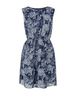 Apricot Blue Rose Print Sleeveless Dress | New Look
