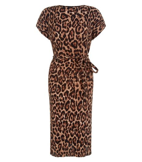 Brown Leopard Print Tie Waist Midi Dress | New Look