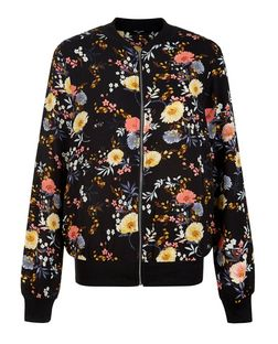 Tall Black Floral Print Bomber Jacket | New Look