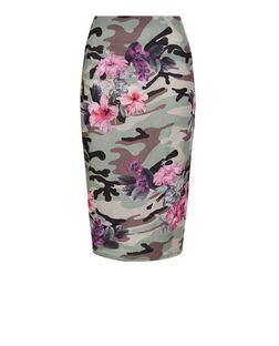 Green Floral Camo Print Pencil Skirt  | New Look