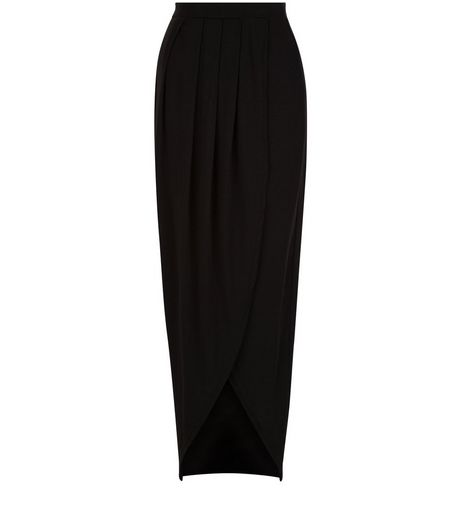 Tall Black Wrap Maxi Skirt | New Look