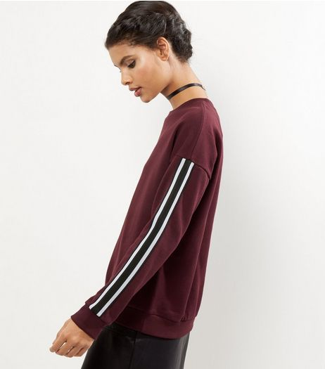 Burgundy Tape Sleeve Sweater | New Look