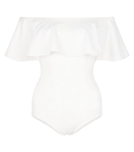 Blue Vanilla Cream Frill Bardot Neck Bodysuit | New Look
