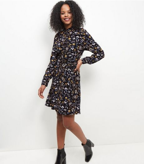 Black Floral Print Long Sleeve Midi Shirt Dress | New Look