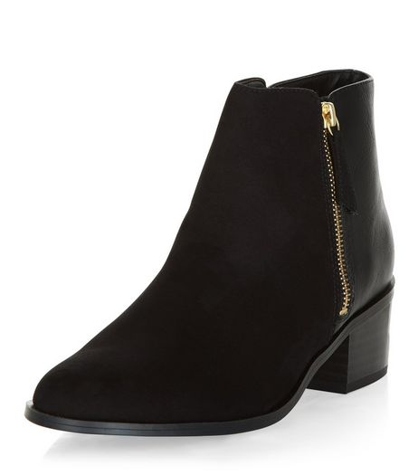 Black Comfort Suedette Ankle Boots | New Look