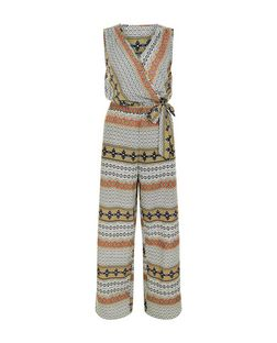 Apricot White Stripe Tile Print Belted Jumpsuit | New Look