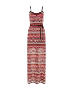 Red Crochet V Neck Maxi Dress | New Look
