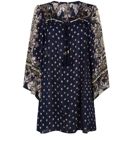 Apricot Navy Paisley Polka Dot Print Bell Sleeve Dress | New Look