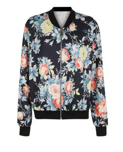 Cameo Rose Navy Floral Print Bomber Jacket  | New Look