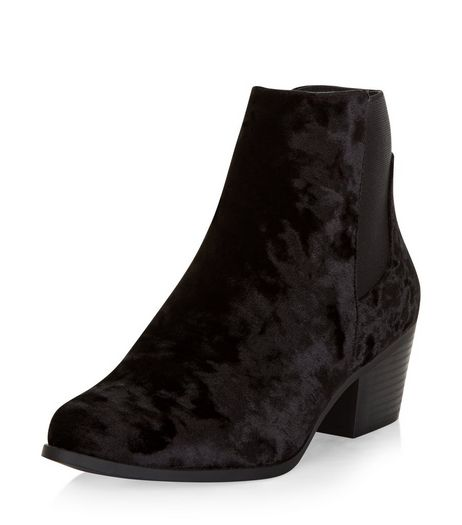 Black Velvet Western Chelsea Boots  | New Look