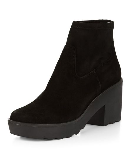 Black Premium Suede Chunky Ankle Boots  | New Look