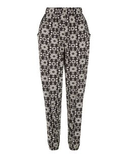 Blue Vanilla Black Floral Tile Print Joggers  | New Look