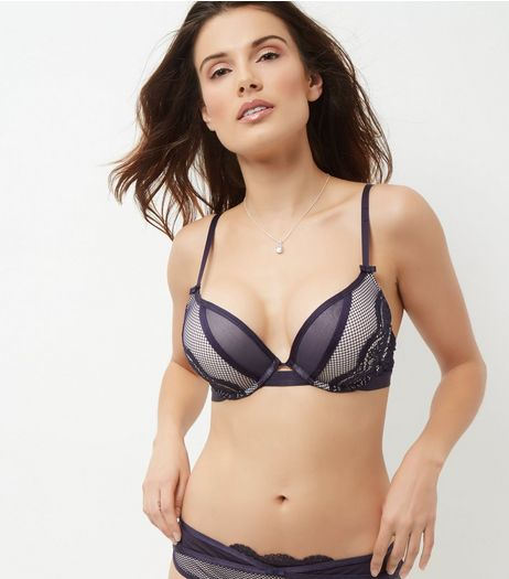 Navy Mesh Lace Trim Boost Bra | New Look