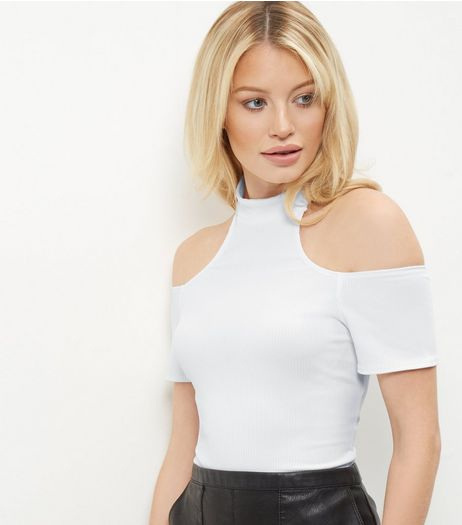 White Cold Shoulder Funnel Neck Bodysuit  | New Look