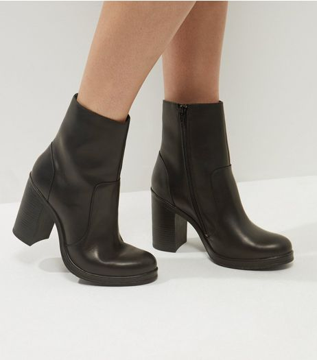 Black Leather Block Heel Ankle Boots | New Look