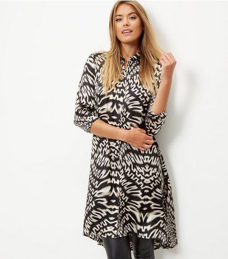 Black Sateen Abstract Print Longline Shirt | New Look