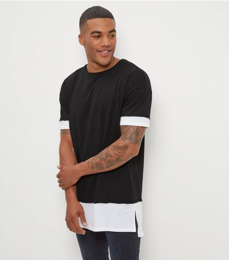 Black Layered Longline T-Shirt  | New Look