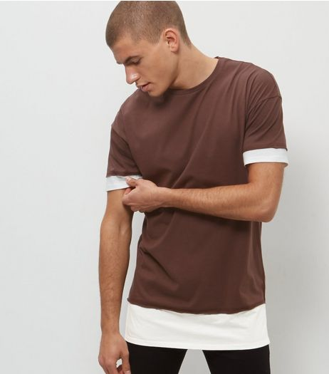 Rust Layered Longline T-Shirt  | New Look