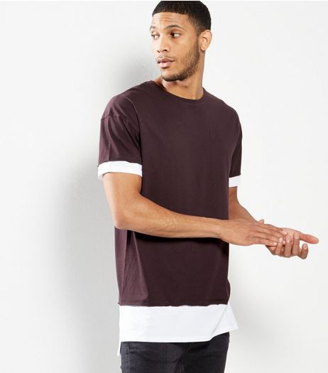 Burgundy Longline Layered T-shirt | New Look