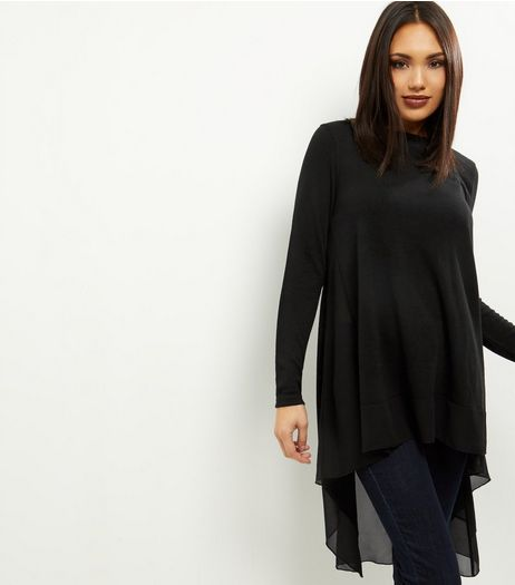 Black Chiffon Dip Hem Top  | New Look