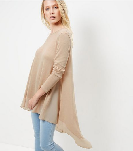 Camel Longline Dip Hem Top | New Look