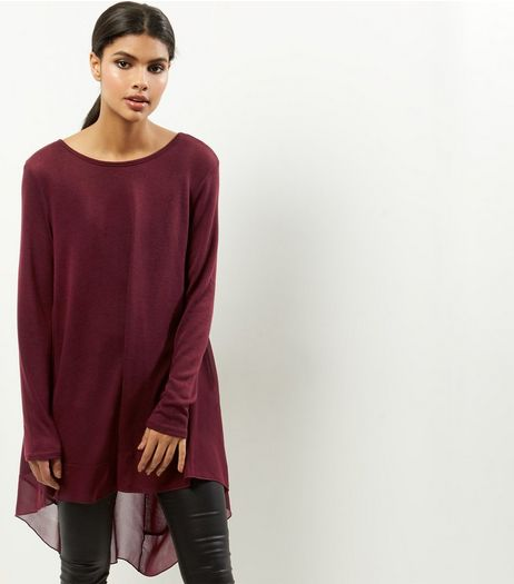 Burgundy Chiffon Dip Hem Top | New Look