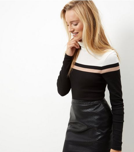 Black Colour Block Ribbed Turtle Neck Top | New Look