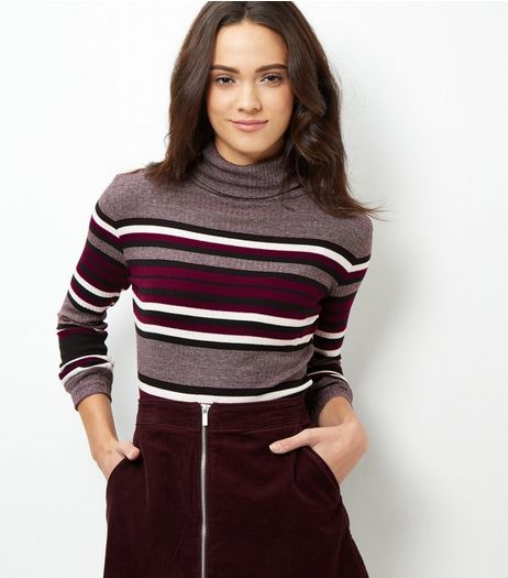 Purple Stripe Long Sleeve Turtle Neck Jumper | New Look