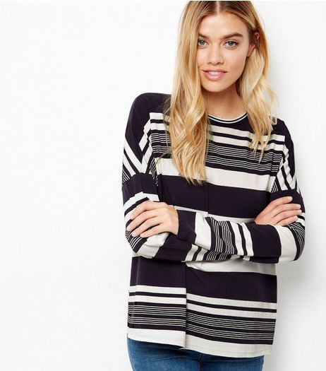 Blue Stripe Ribbed Trim Long Sleeve Top  | New Look