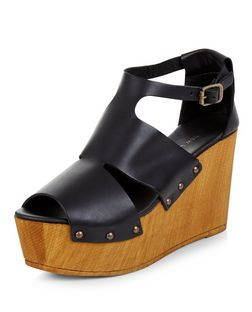 Black Premium Leather Cut Out Platform Wedges  | New Look