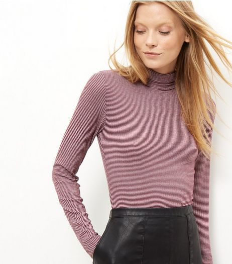 Red Mini Stripe Ribbed Funnel Neck Crop Top | New Look