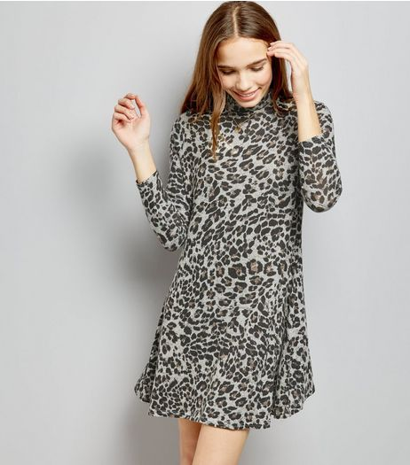 Brown Leopard Print Funnel Neck Dress  | New Look