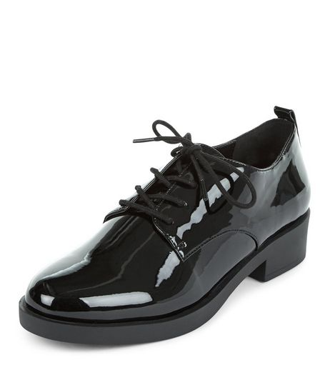 Black Patent Lace Up Shoes  | New Look