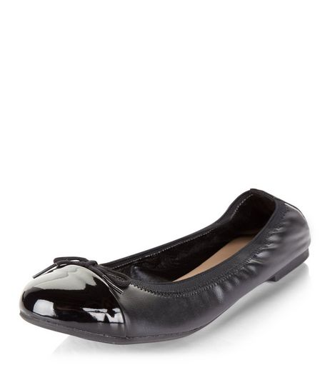 Teens Black Leather-Look Elasticated Pumps | New Look