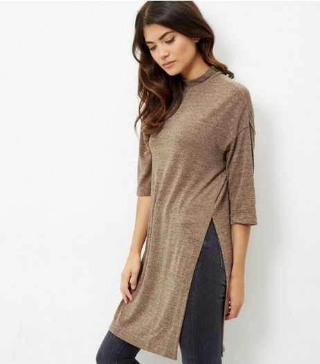 Camel Fine Knit 3/4 Sleeve Split Side Longline Top  | New Look