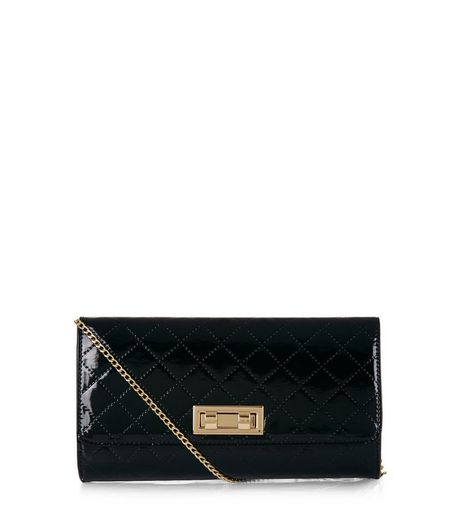Black Patent Quilted Clutch  | New Look