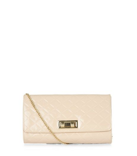 Camel Quilted Patent Clutch | New Look
