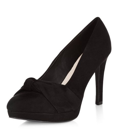 Wide Fit Black Comfort Knotted Strap Platform Heels  | New Look