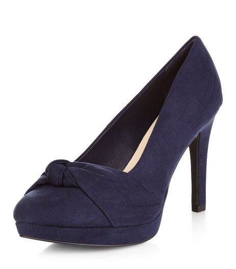 Wide Fit Navy Comfort Knotted Strap Platform Heels  | New Look