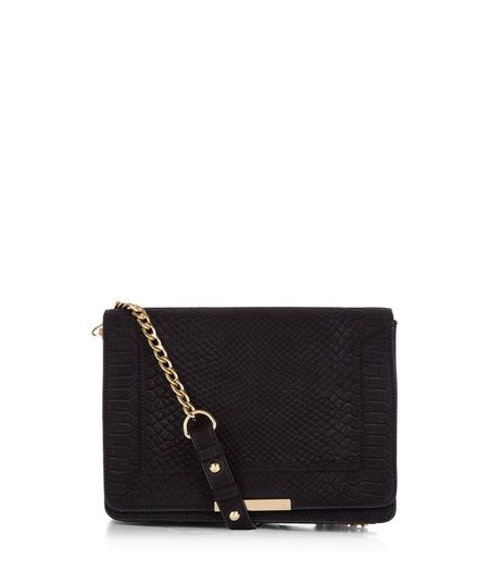Black Snakeskin Texture Chain Shoulder Bag  | New Look