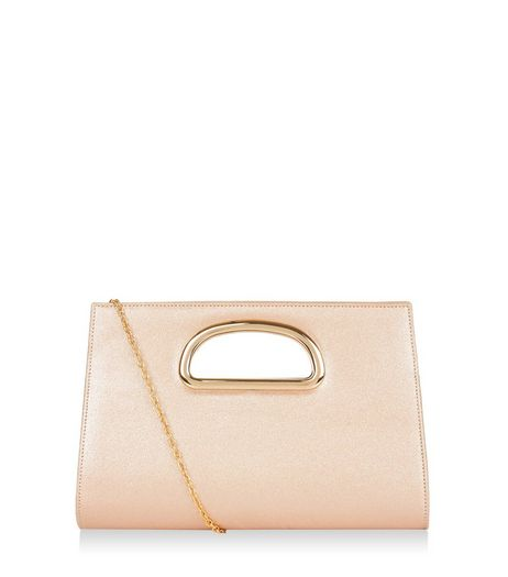 Bronze Metal Handle Clutch | New Look