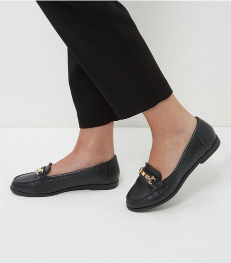 Wide Fit Black Leather Metal Trim Loafers | New Look