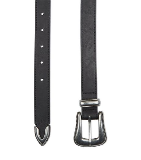 Black Western Leather-Look Belt  | New Look