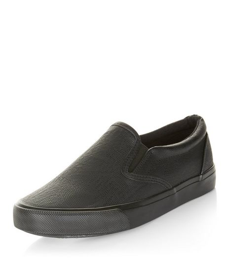 Teens Black Snakeskin Texture Slip On Plimsolls  | New Look