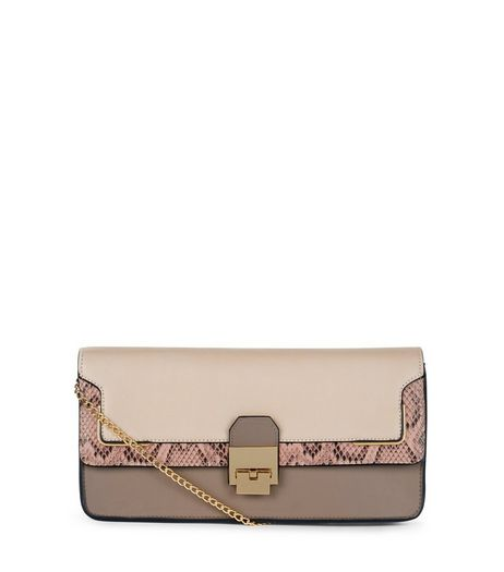 Mink Leopard Print Panelled Clutch Bag | New Look