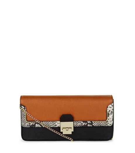 Brown Snakeskin Print Panelled Clutch  | New Look