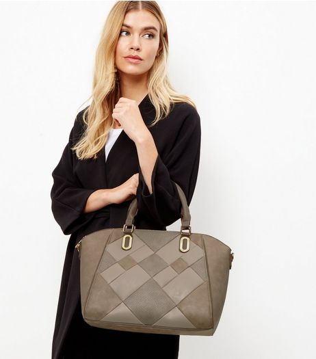 Mink Patchwork Tote Bag | New Look