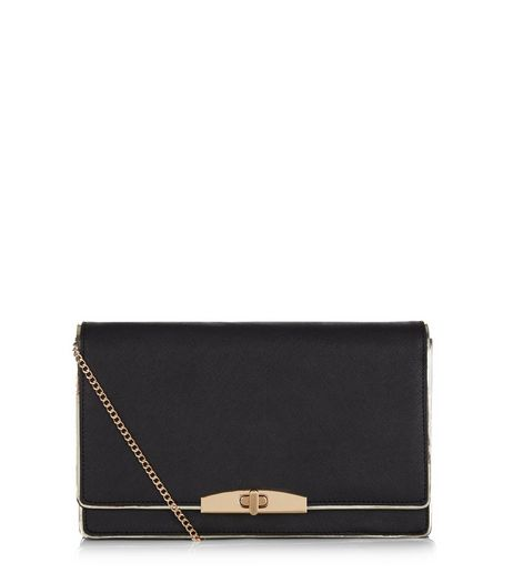 Black Leather-Look Clutch  | New Look